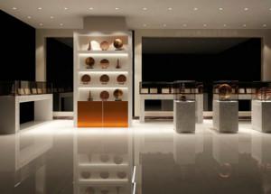 现代都市精美的商品玻璃展示柜装修效果图