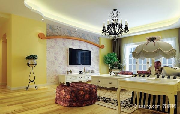 田园风格新房客厅电视墙背景效果图片