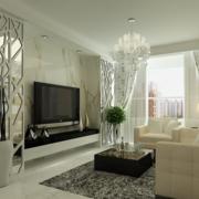 2016大户型简约风格客厅背景墙装修效果图片