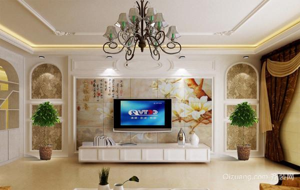 2016三室两厅欧式电视墙背景效果图片
