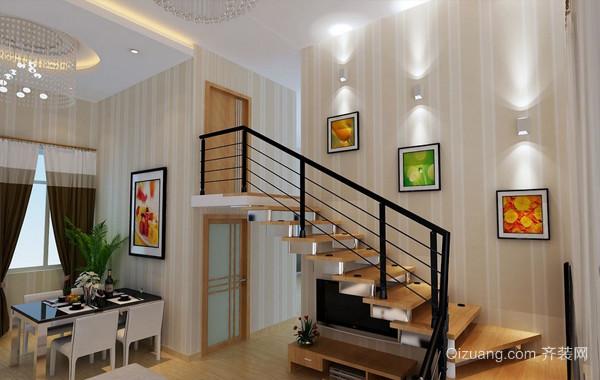 都市130平米跃层住宅楼梯设计装修效果图