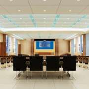 2016精致的现代阶梯教室桌椅背景墙装修效果图