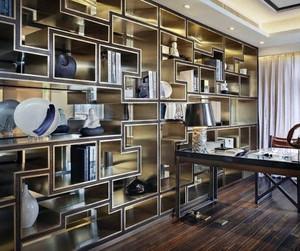 2016精致的现代中式大户型客厅博古架装修效果图