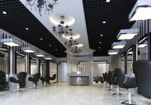 黑白经典:大气摩登130平米理发店装修图