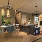 2016大户型美式装修风格样板房客厅装修效果图
