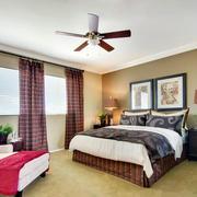 2016复式楼美式田园风格卧室装修效果图