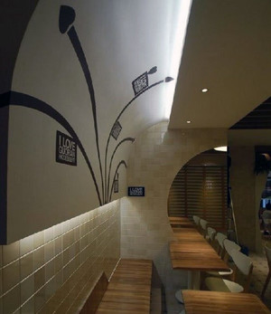 现代都市精美的甜品店背景墙吊顶装修效果图
