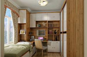 现代15平米原木色书房家具效果图