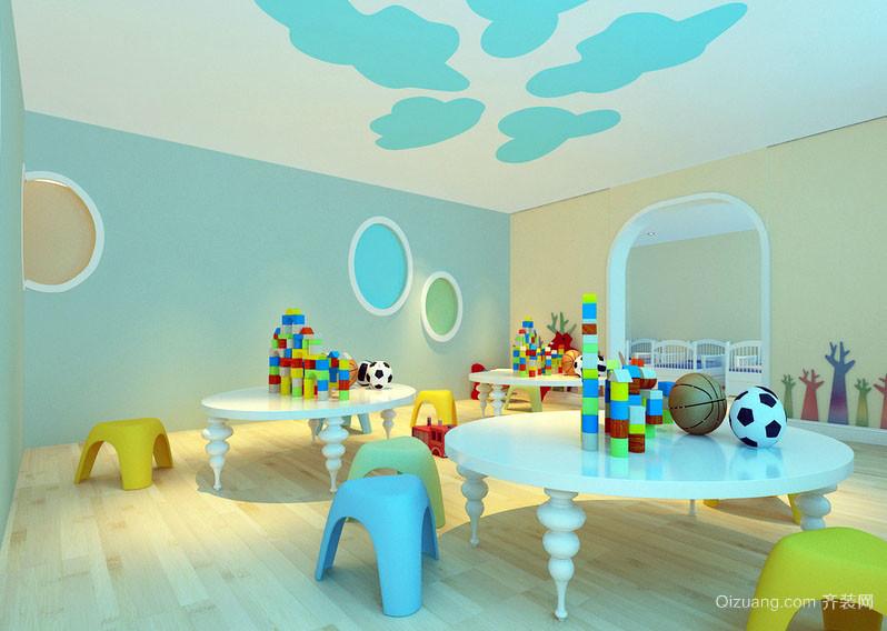 轻快幼儿园水蓝色小教室装修设计效果图