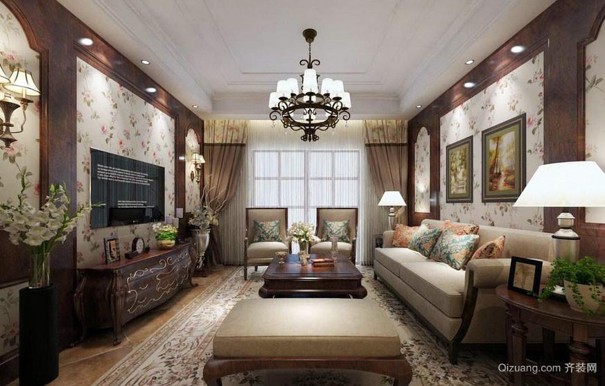 美式田园风格三室一厅客厅装修效果图