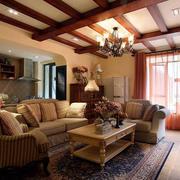 100平米美式田园风格小客厅装修效果图