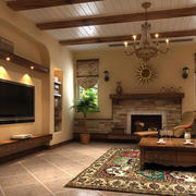 美式田园风格独栋小别墅客厅装修效果图