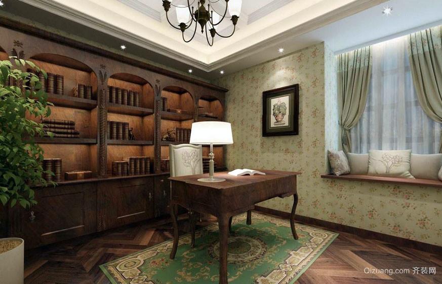 别墅美式田园风格简约书房装修效果图
