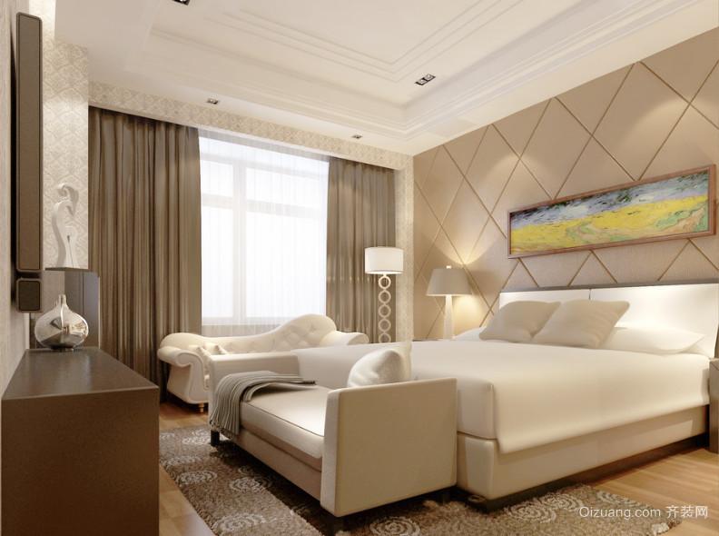 120平米大户型欧式卧室床头背景墙装修效果图