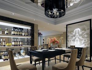 120平米大户型欧式酒柜装修效果图实例欣赏