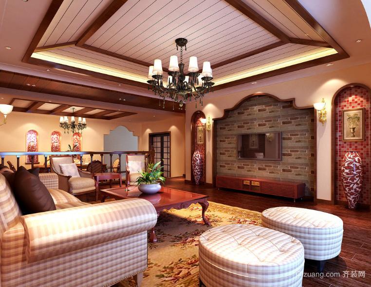 120平米大户型东南亚风格客厅装修效果图案例