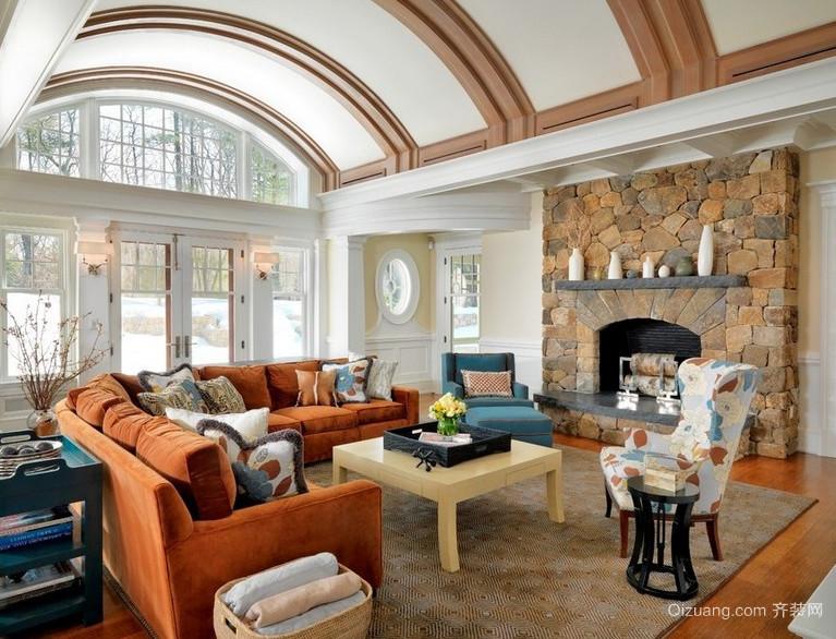 现代大户型欧式客厅石膏板吊顶装修效果图