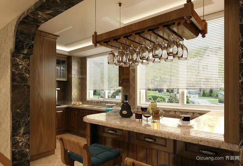 现代美式风格别墅厨房吧台装修效果图