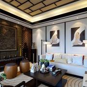 新中式小客厅墙面展示