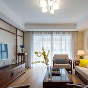 新中式客厅落地窗帘