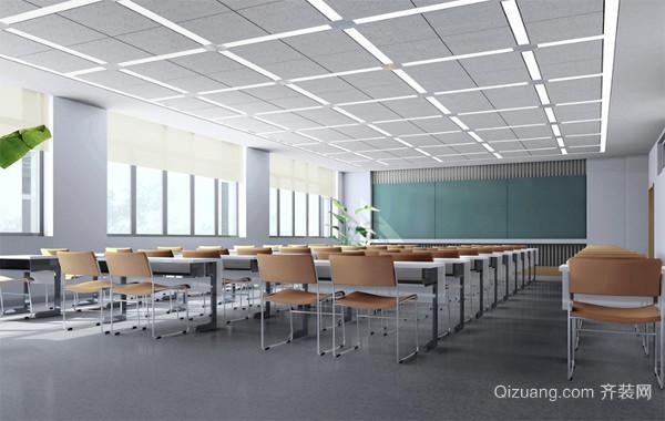 2016精美的现代布置教室背景墙吊顶装修效果图
