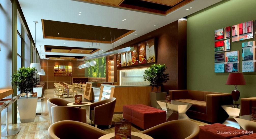 自然现代100平米咖啡馆简约吊顶设计图片