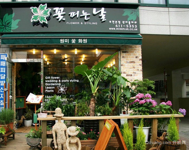 韩式风格的小户型花店门面装修效果图