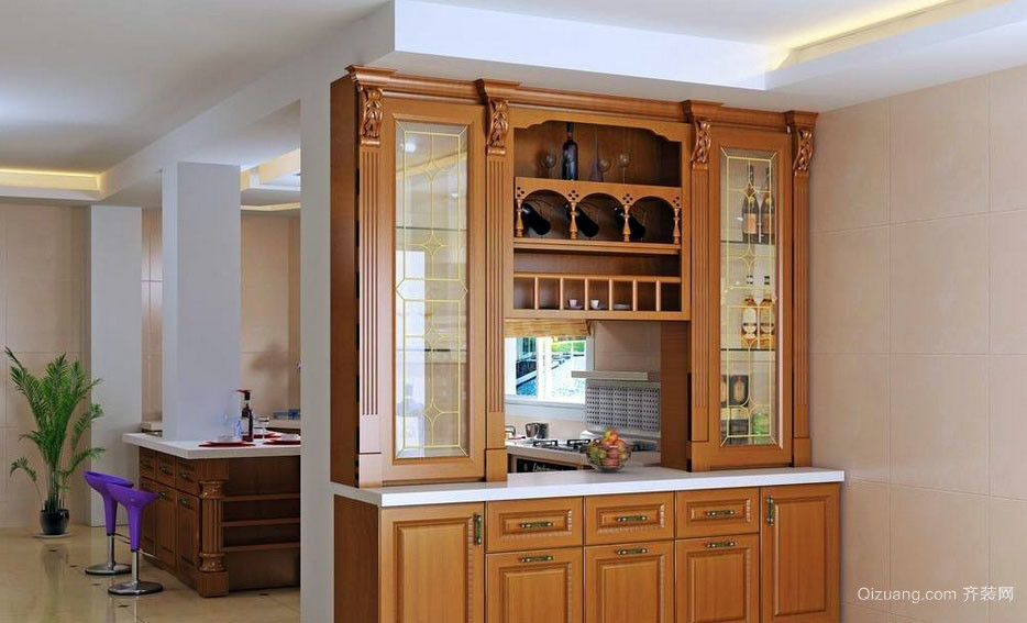 简约美式风情小厨房酒柜设计效果图