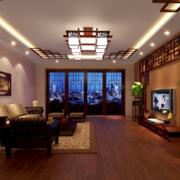 2016大户型精美的现代中式客厅装修效果图