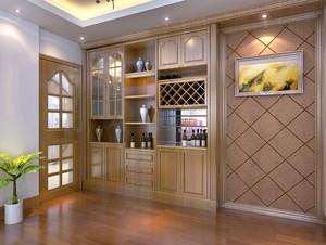 朴素120平米两室一厅酒柜设计效果图