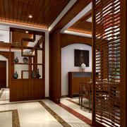 中式风格98平米家居鞋柜隔断装修效果图