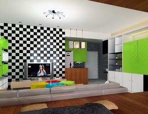 现代欧式精美小洋楼建筑客厅背景墙装修效果图