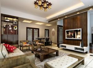 120平米大户型现代中式客厅家装装修效果图