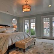 2016简美风格复式楼卧室吊顶设计装修图