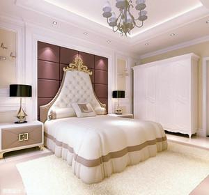 时尚大户型别墅卧室床头背景墙效果图
