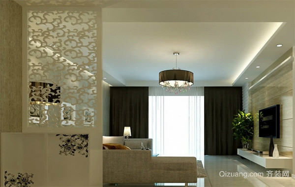 110平米大户型唯美欧式客厅隔断装修效果图