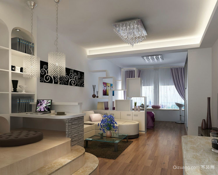 时尚55平米单身公寓小客厅装修效果图