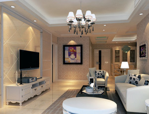 90平米大户型欧式精致的客厅吊顶装修效果图
