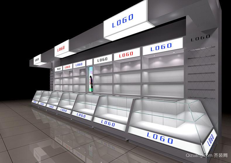 现代都市商场精美的玻璃展示柜装修效果图