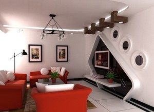 混搭风格143平米家居电视背景墙装修图片