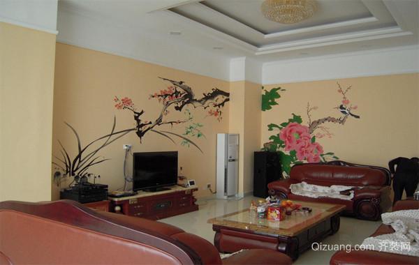 大户型现代欧式客厅手绘墙电视背景墙装修效果图