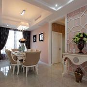 粉色简欧三居室餐厅吊顶设计装修效果图