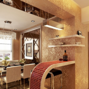 90平米欧式唯美的大户型室内吧台装修效果图