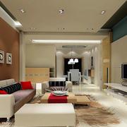 时尚76平米家居客厅吊顶设计装修效果图