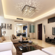 2016大户型现代简约客厅背景墙装修效果图