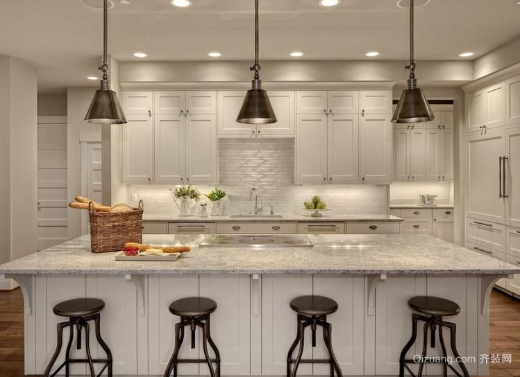 2016唯美精致的欧式大户型开放式厨房装修效果图