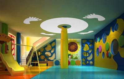 活力四射:轻快大型幼儿园墙面设计布置图