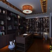 120平米大户型精致的现代中式书房装修效果图