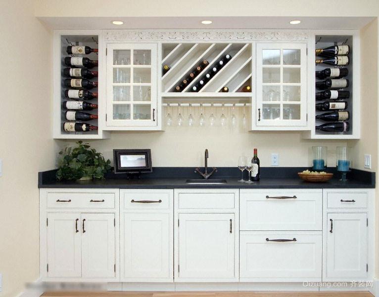 2016宜家风格白色一字型厨房橱柜效果图