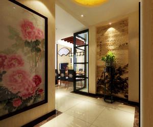 中式风情300平米别墅玄关设计装修效果图